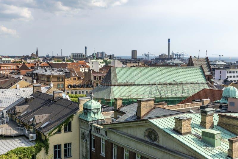 Dakbovenkanten in Helsingborg in Zweden stock afbeelding