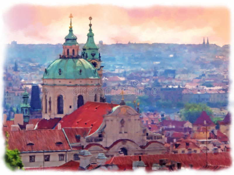 Dakbovenkanten van de oude stad Praag stock foto