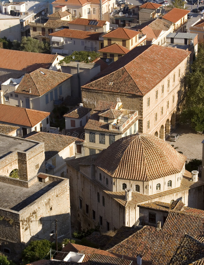 Daken en huizen van nafplio Griekenland royalty-vrije stock foto's