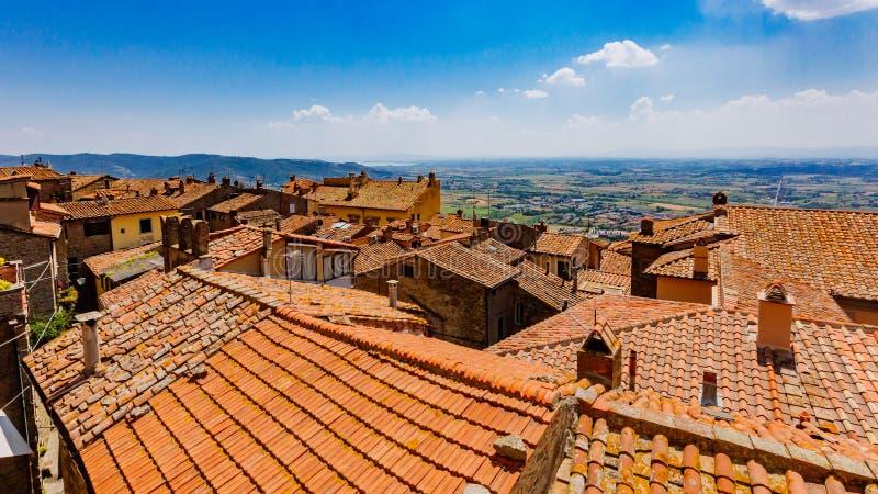 Daken en mening van landschap in Cortona, Italië royalty-vrije stock foto's