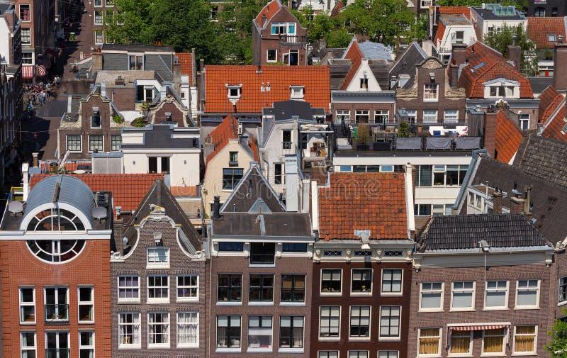 Daken en voorgevels van Amsterdam Stadsmening van de klokketoren van de kerk Westerkerk, Nederland royalty-vrije stock foto's