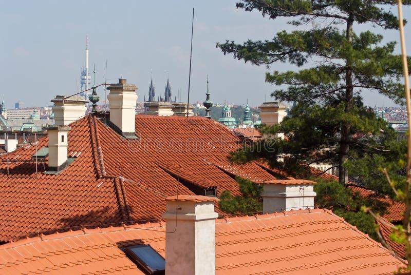 daken Praag, Tsjechische Republiek stock fotografie