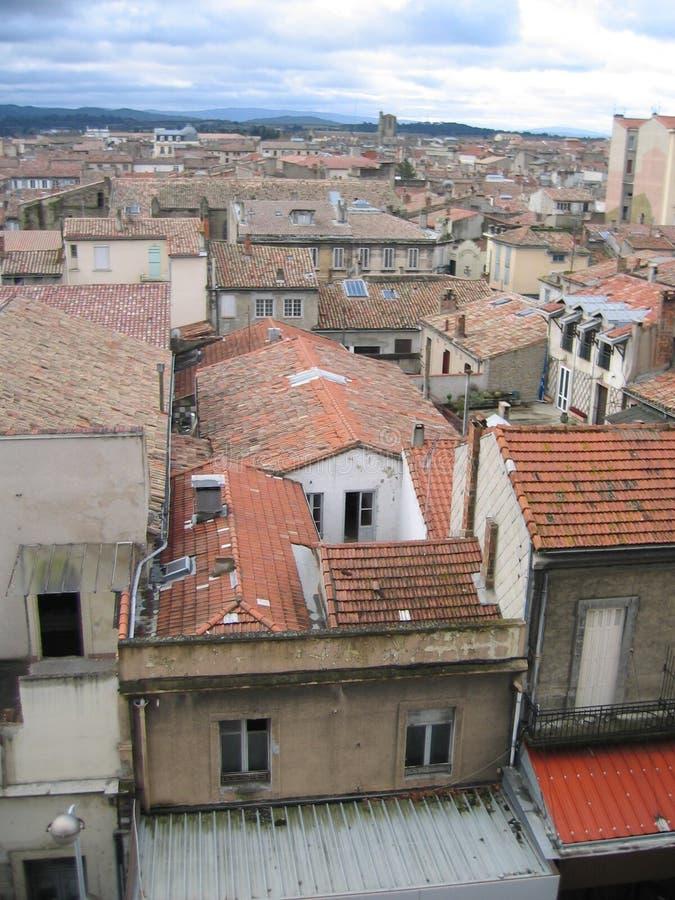 Daken van Carcassonne stock foto