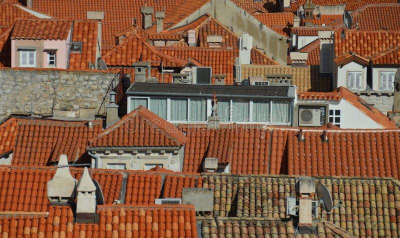Daken van de oude stad van Dubrovnik, Kroatië royalty-vrije stock afbeelding