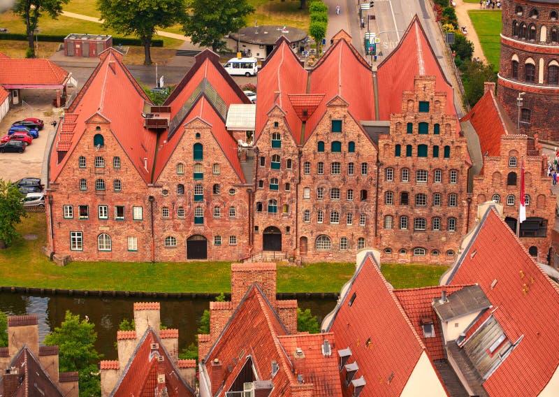 Daken van Lübeck royalty-vrije stock afbeelding