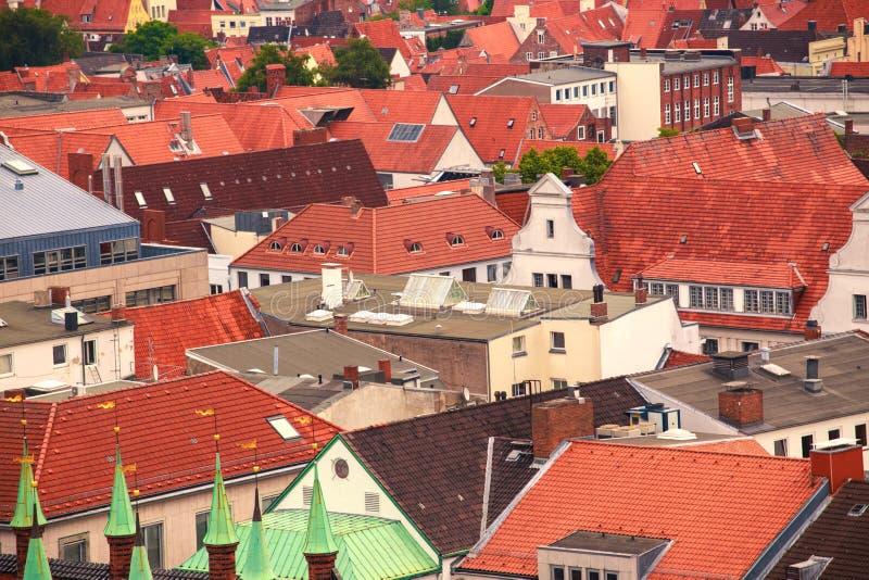 Daken van Lübeck stock afbeeldingen