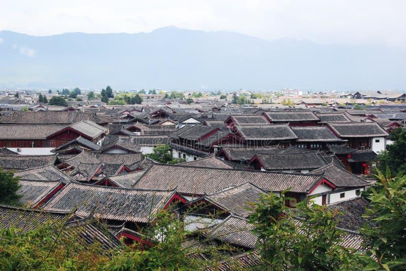 Daken van yunnan lijiang oude stad, China stock foto's