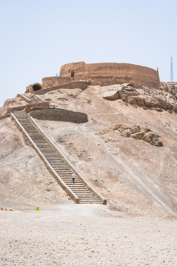 Dakhma or Tower of Silence in Yazd, Iran. stock photos