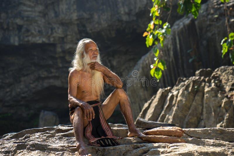 Daklak, Vietnam - 9. März 2017: Porträt des Mannes Ede-ethnischer Minderheit mit langem weißem Bart im Trachtenkleid im Wald in B stockfoto