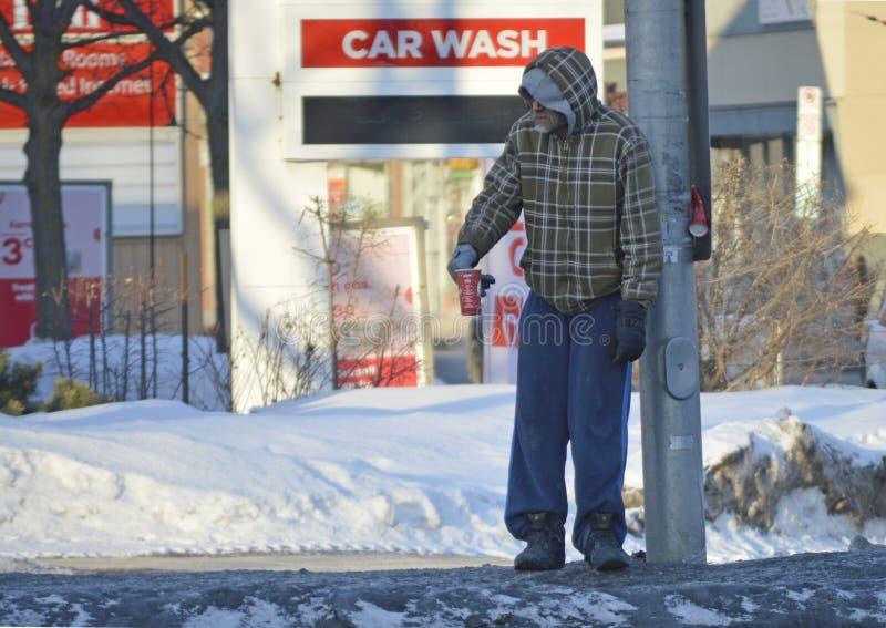 Dakloos en wanhopig in Ottawa, Canada stock fotografie