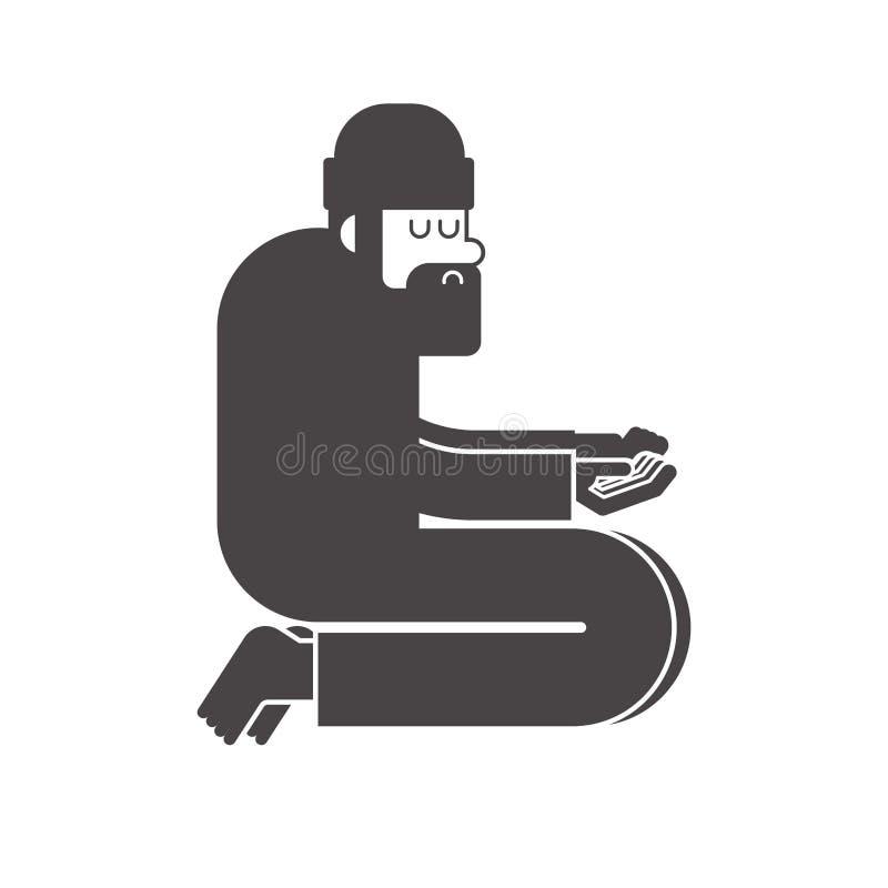 Dakloos pictogram De bedelaars ondertekenen Slecht symbool de Vector van de bedelaarzwerver illust royalty-vrije illustratie