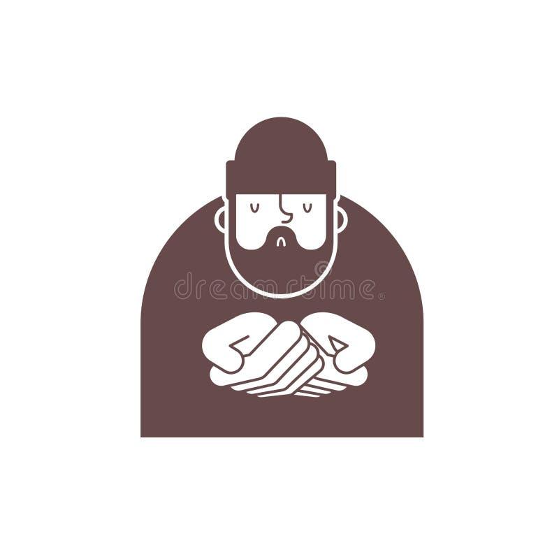 Dakloos pictogram De bedelaars ondertekenen Slecht symbool de Vector van de bedelaarzwerver illust stock illustratie