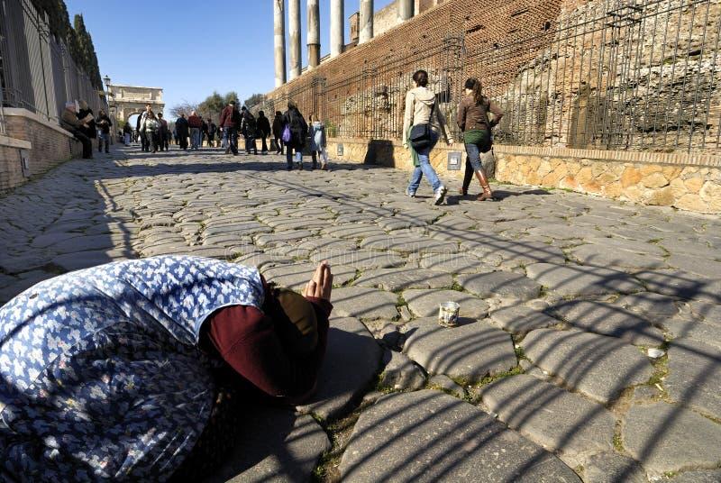 Dakloos, Roman Forum, Rome, Italië royalty-vrije stock foto's