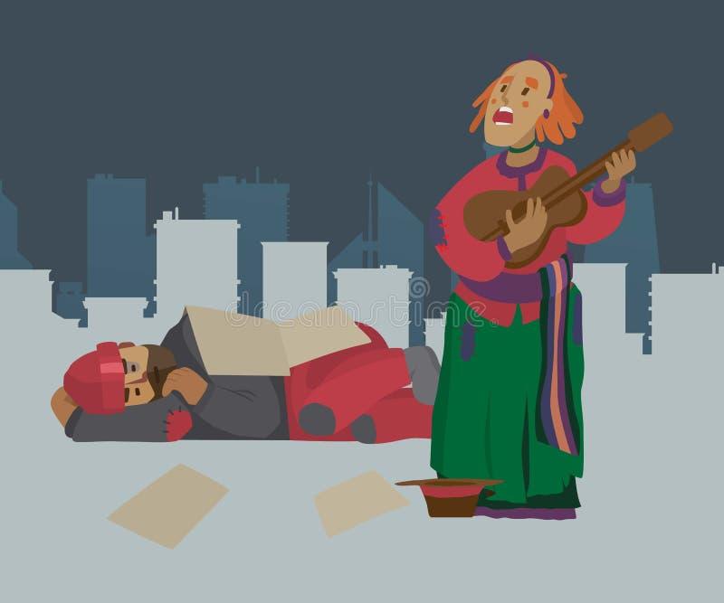 Dakloze de vrouwenbedelaar van de straatmusicus op stadsstraat, die om geld en het spelen gitaar vragen Panhandler, pauper, penur stock illustratie
