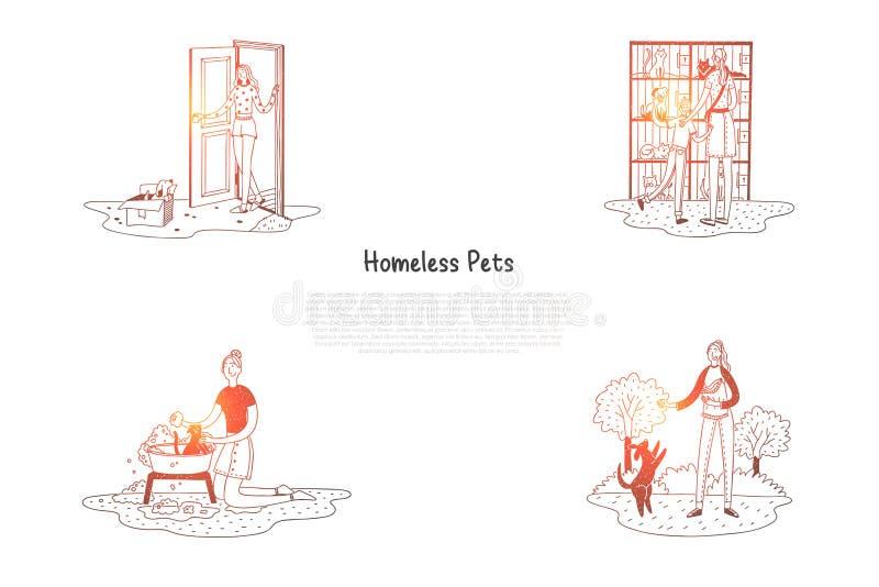 Dakloze huisdieren - dieren in kooien en in dozen op straat en mensen die hen behandelen vectorconceptenreeks royalty-vrije illustratie