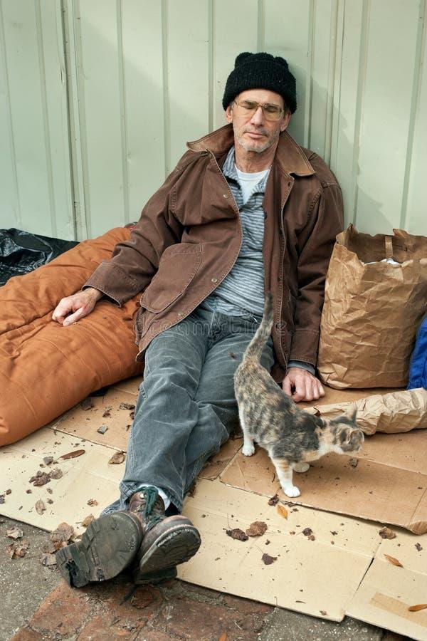 Dakloze Mens en Vriendschappelijke Verdwaalde Kat stock foto's