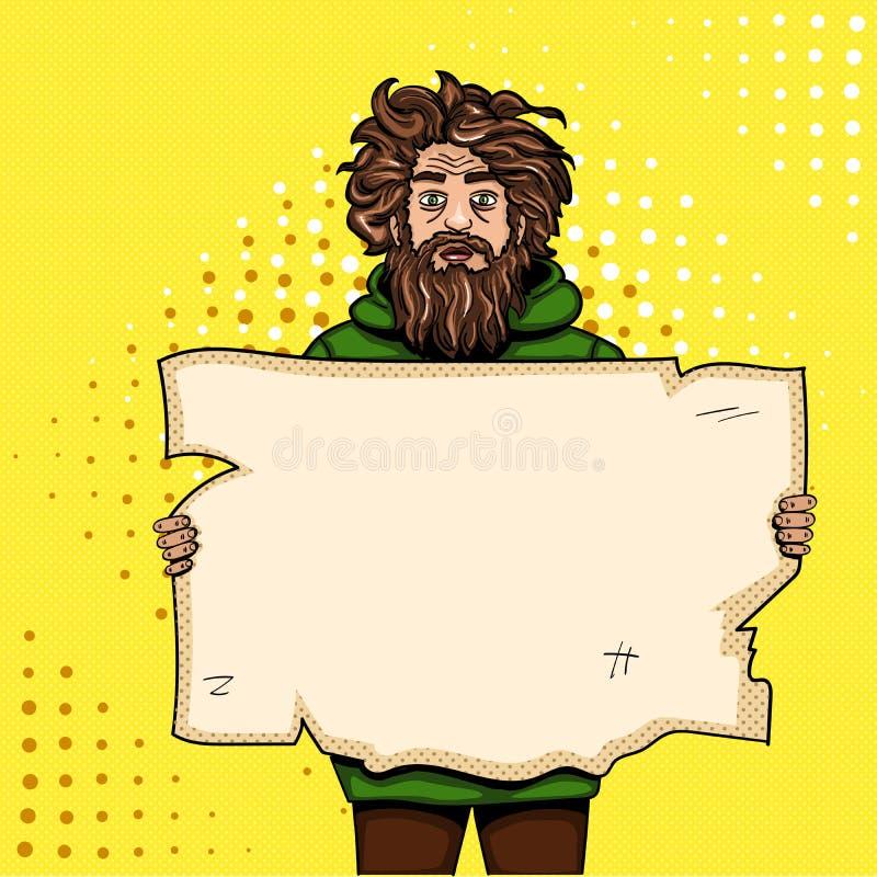 Dakloze mens met document de illustratie van de de stijlrooster van het tekenpop-art De grappige imitatie van de boekstijl retro  stock illustratie