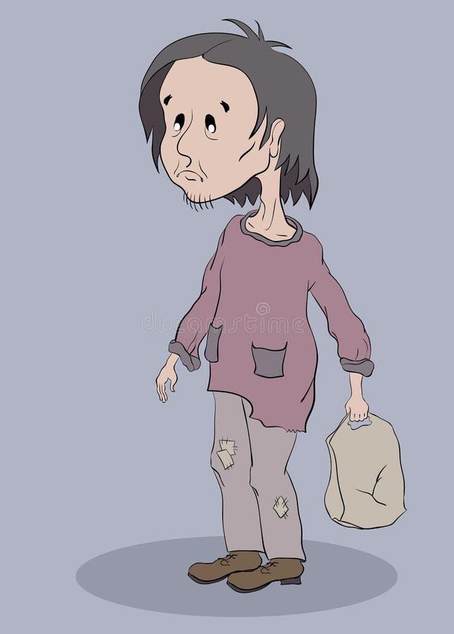 Dakloze mens met een grijze zak vector illustratie
