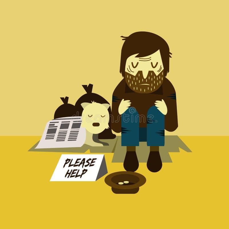 Dakloze mens met een hondslaap op straat vector illustratie