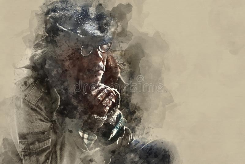 Dakloze mens op gangstraat in de hoofdstad royalty-vrije illustratie