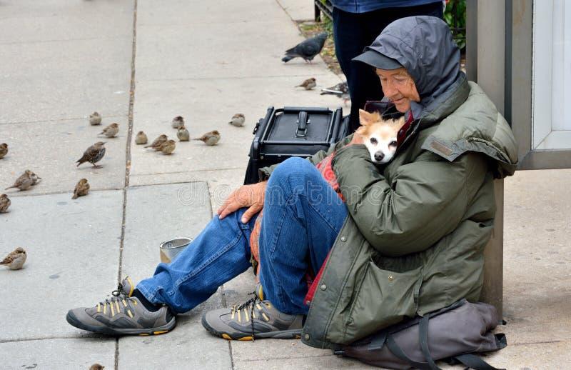 Dakloze oude mens die zijn hond koesteren stock foto's