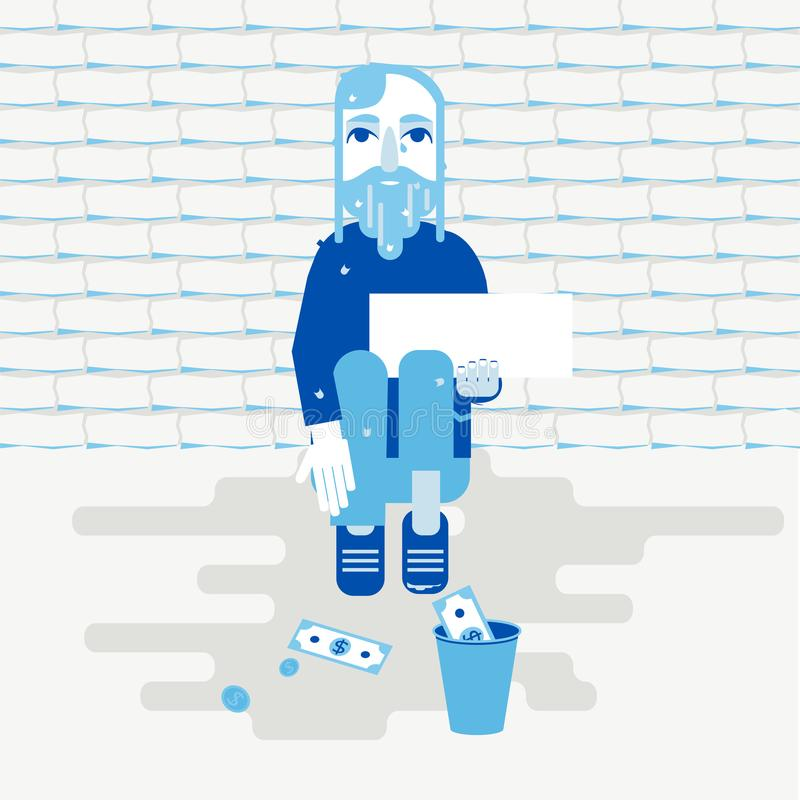 Dakloze persoon die voor geld bedelen vector illustratie