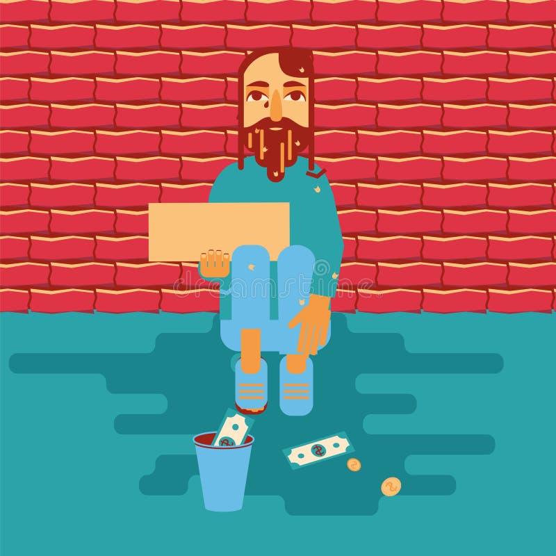 Dakloze persoon die voor geld bedelen royalty-vrije illustratie