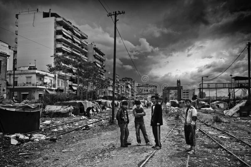 Dakloze vluchteling in Griekenland stock afbeeldingen
