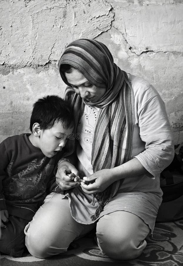 Dakloze vluchtelingen in Athene, Griekenland stock foto's