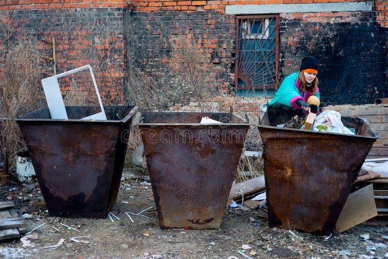 Dakloze vrouwenbedelaar royalty-vrije stock foto