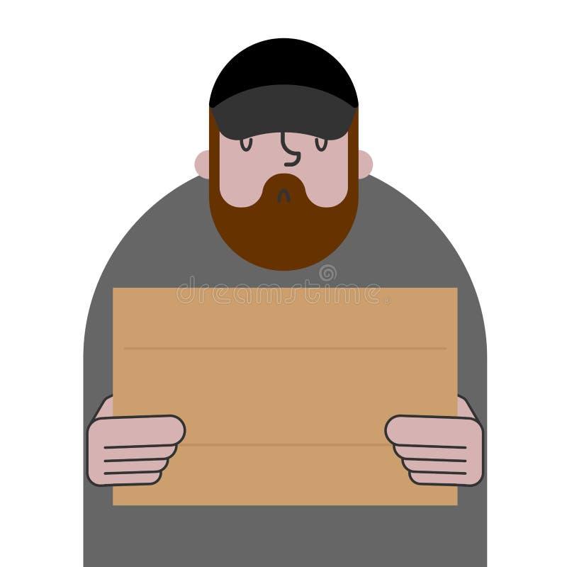 Daklozen en karton Slechte bedelaars en lege plaat, bedelaarzwerver royalty-vrije illustratie