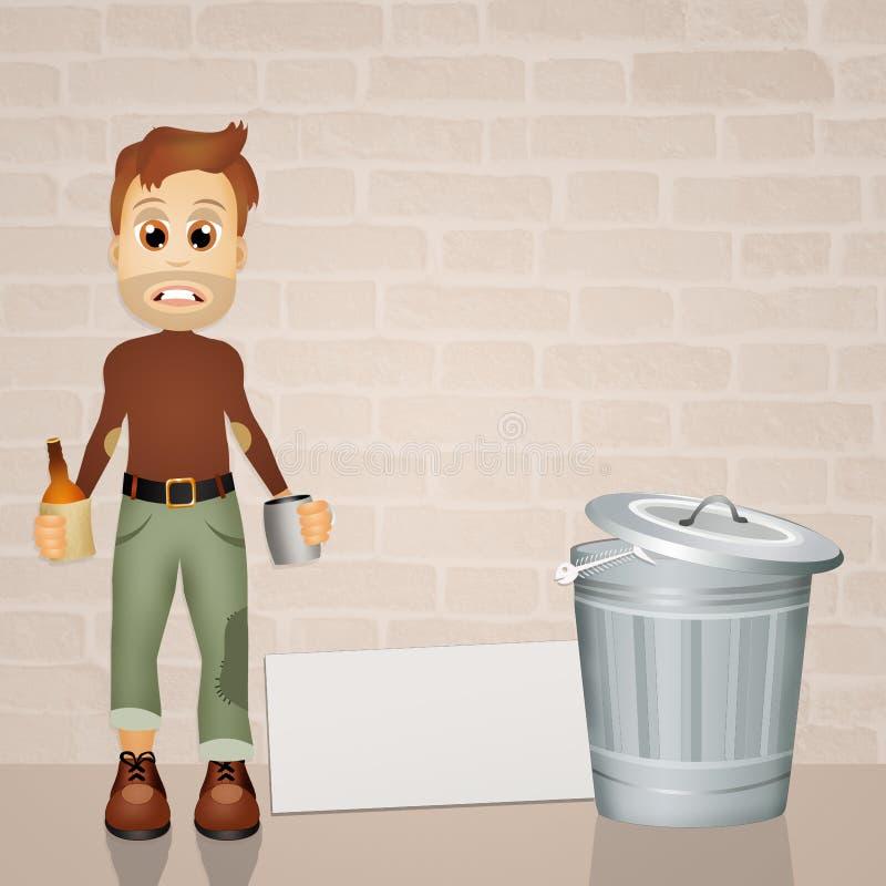 Download Daklozen met wisky stock illustratie. Illustratie bestaande uit werklozen - 54084502