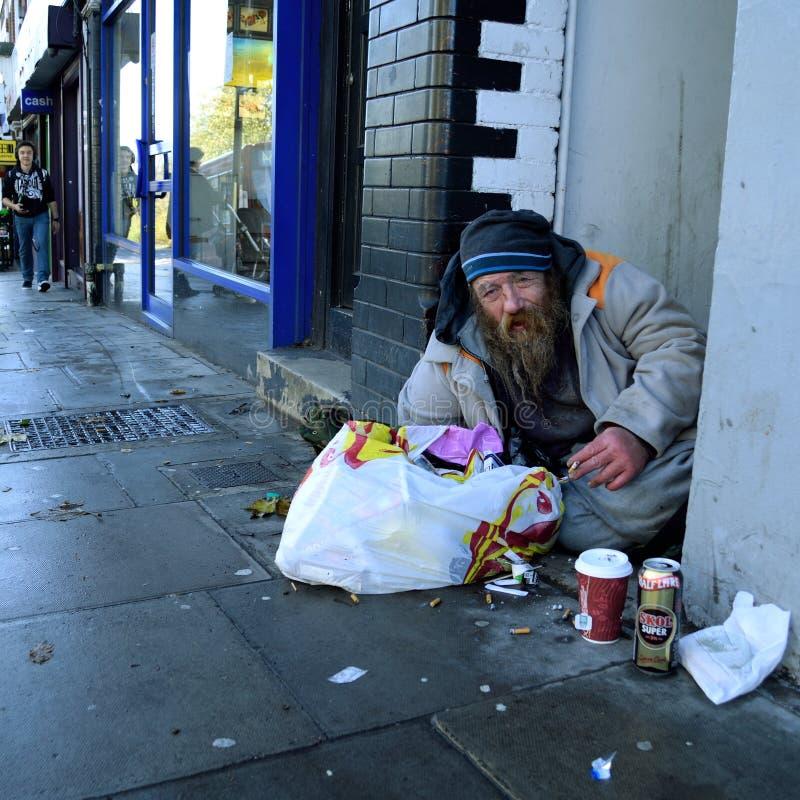 Daklozen op de straat royalty-vrije stock afbeelding