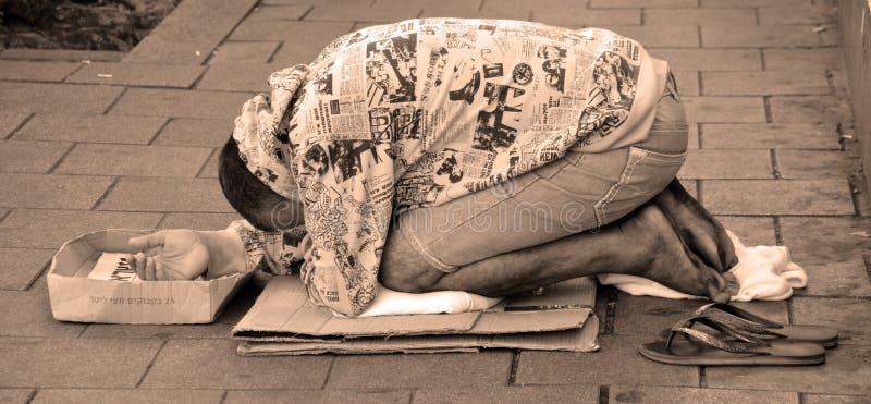 Daklozen in Tel Aviv stock afbeeldingen