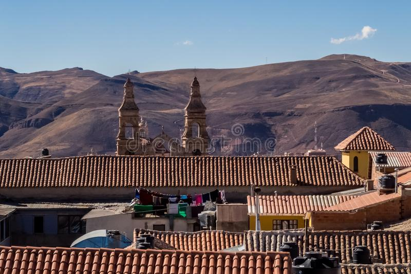 Dakmening aan Cerro DE Potosi of Cerro Rico, Potosi, Bolivië royalty-vrije stock afbeelding