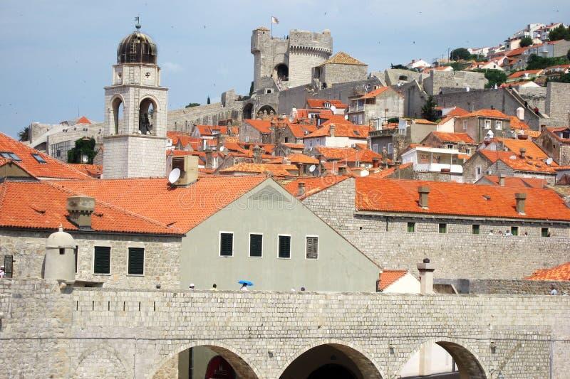 Dakmening van de Oude Stad van Dubrovnik Kroatië royalty-vrije stock fotografie
