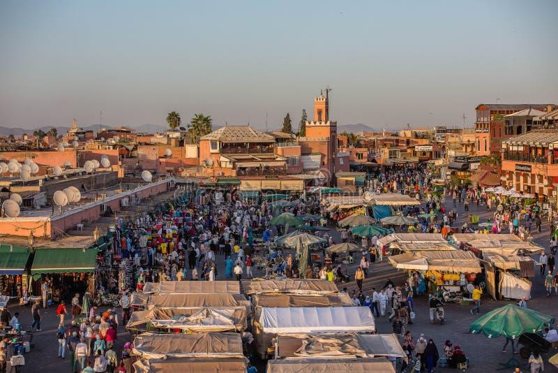 Dakmening van Marrkech, Marokko stock foto's