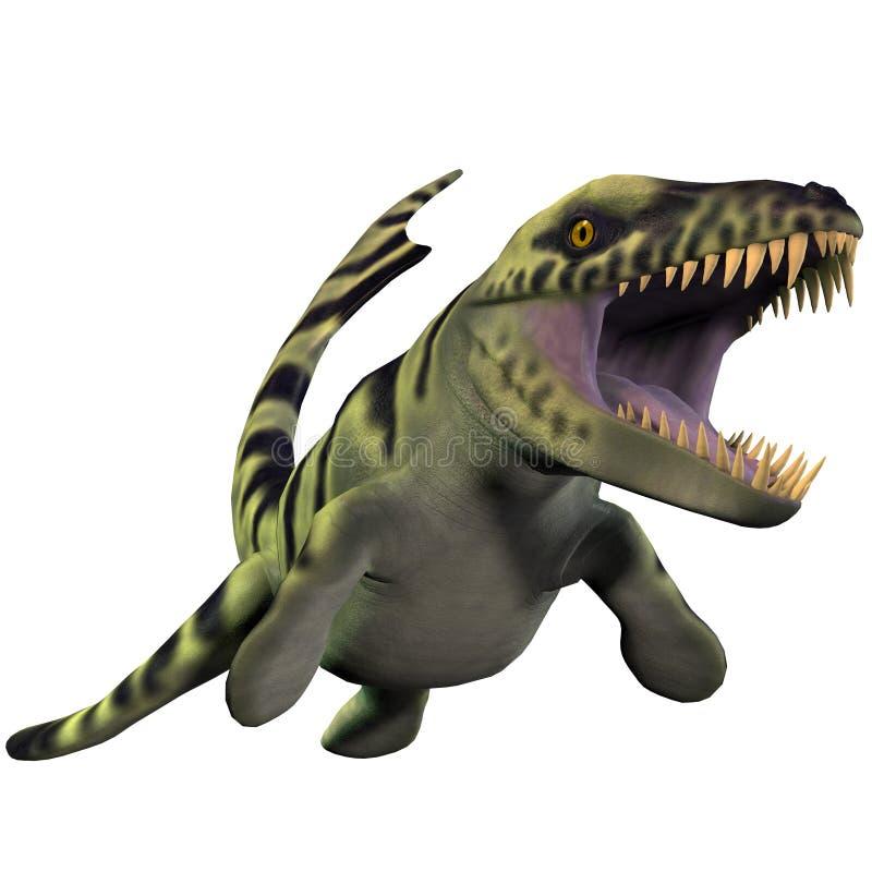Dakosaurus over Wit royalty-vrije illustratie