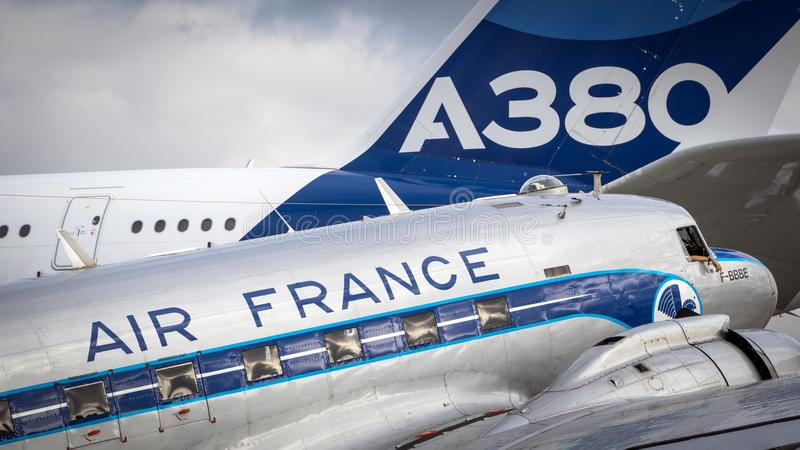Dakota Airbus A380 Air France imagenes de archivo