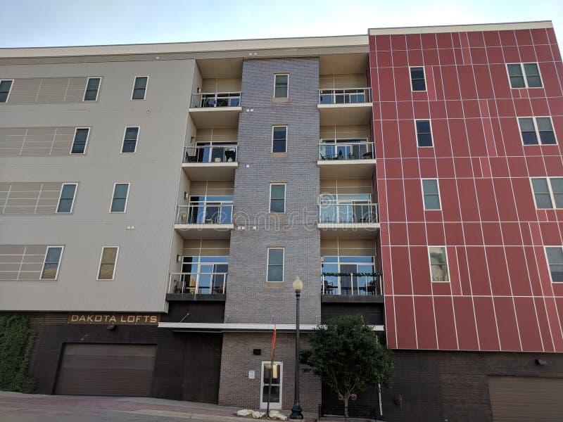 Dakota Lofts in Downtown, Sioux Falls. Dakota Lofts residential apartments on Dakota Ave in downtown Sioux Falls, South Dakota royalty free stock photos