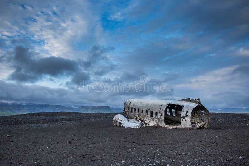 Dakota plane wreck on the wreck beach in Vik, Iceland royalty free stock image