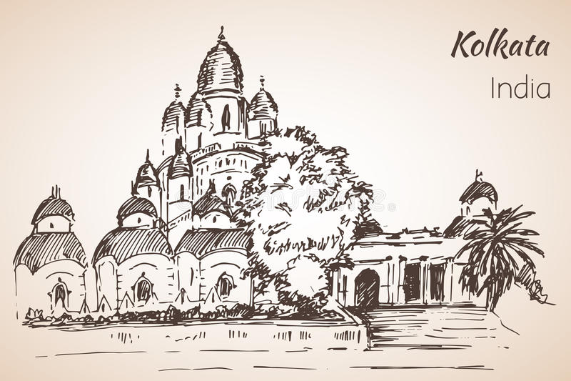 Dakshineshwar tempel - stad Kolkata vektor illustrationer