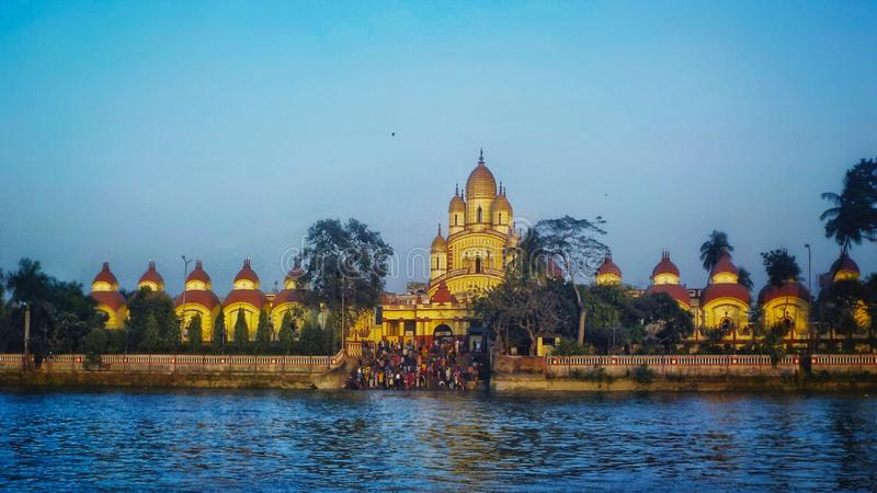 Dakshineshwar temple view from hoogly river royalty free stock images
