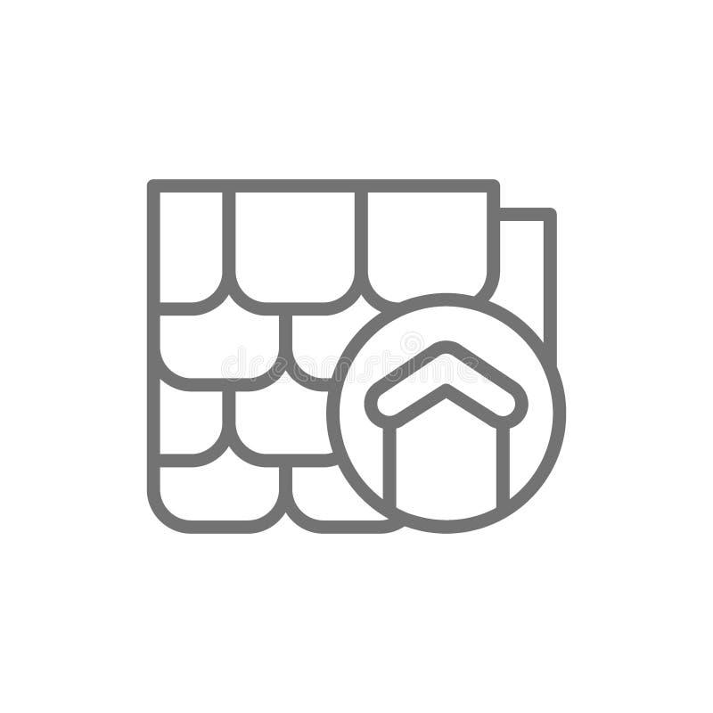 Dakvervanging, reparatie housetop, bouwmaterialen voor het pictogram van de huislijn stock illustratie