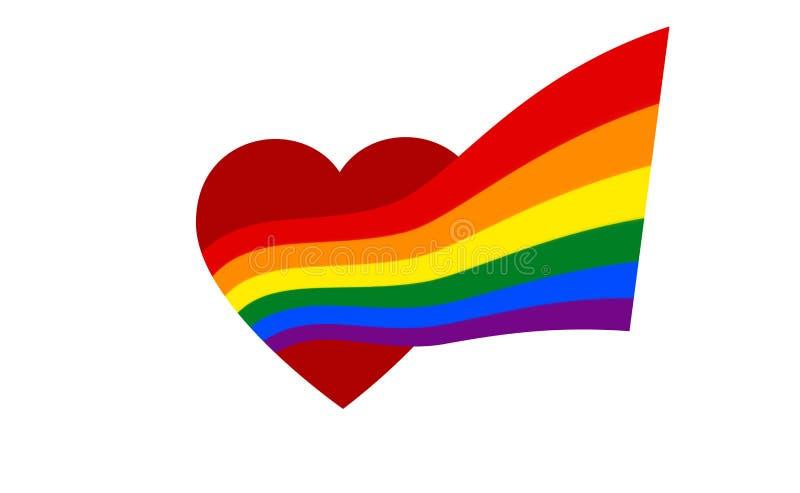 Dal cuore rosso viene la bandiera dell'arcobaleno - simbolo del lgbt e del lgbtq di orgoglio Venuta fuori icona di LGBT Gay del s illustrazione di stock