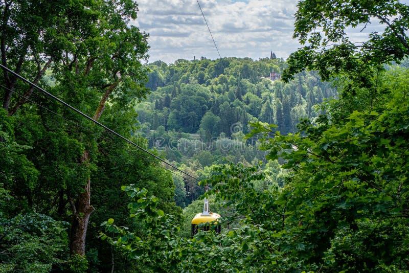 dal f?r kabelbil korsning av Gauja i Sigulda, Lettland i gr?n sommar royaltyfri bild