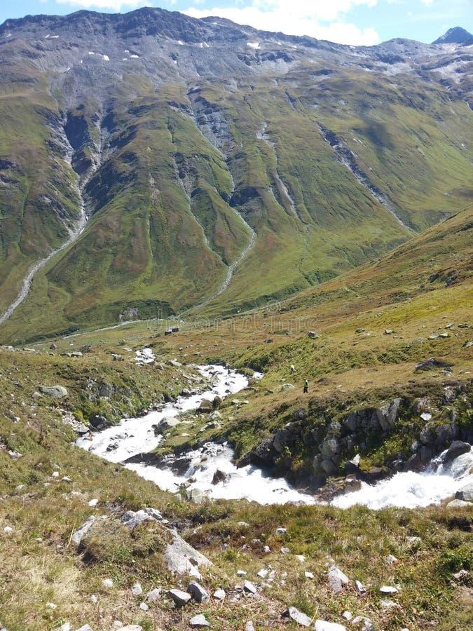 Dal i schweiziska fjällängar arkivfoto