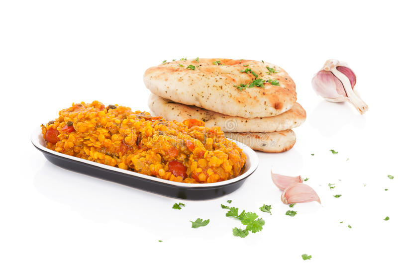 Dal with naan. royalty free stock image