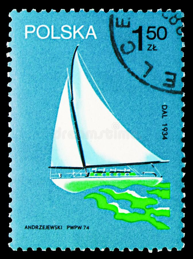 'Dal ', 1934, Polish Sailing Ships serie, circa 1974. MOSCOW, RUSSIA - SEPTEMBER 15, 2018: A stamp printed in Poland shows 'Dal ', 1934, Polish Sailing Ships royalty free illustration
