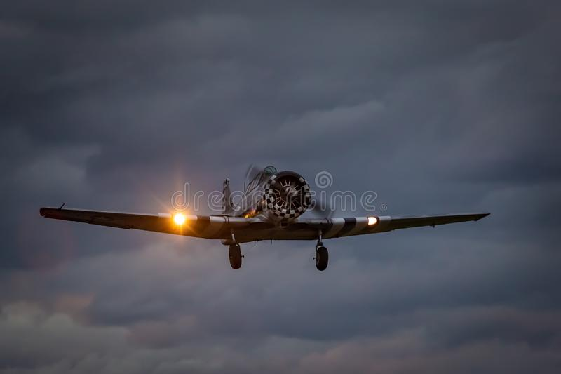North American T-6 `Texan` taking off from Dala Järna airport royalty free stock images